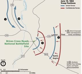 Brice Cross Roads Battle Map