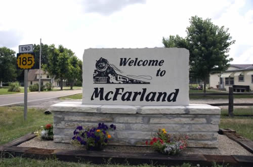 Stonme 1 sign for McFarland, Kansas
