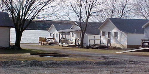 Houses at lake