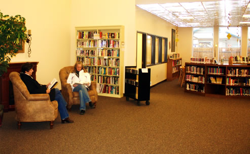 Scott County Library main reading room with fireplace